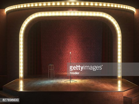 Dark empty stage with microphone. 3d render : Stock Photo
