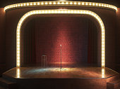 Dark empty comedy cabaret stage. 3d illustration