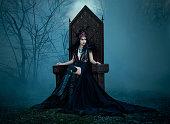 dark evil queen sitting on a luxurious throne,snow white, wild Princess , vampire , hip toning , creative color,dark boho