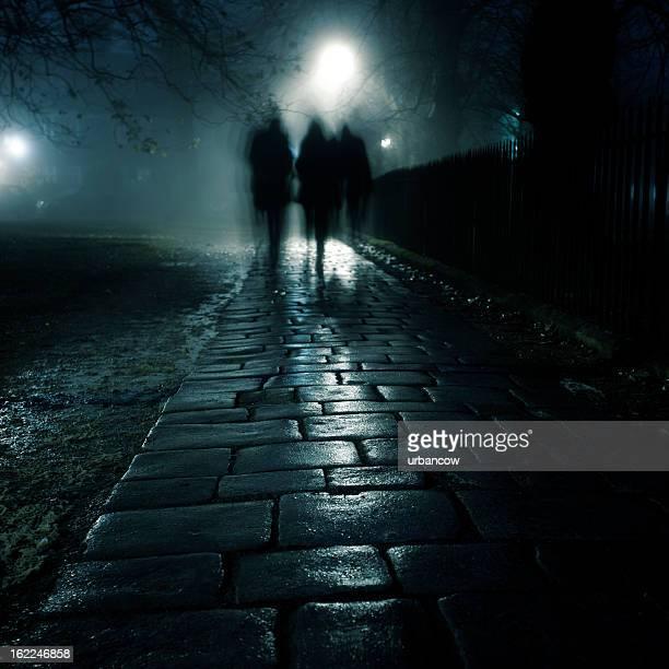 Dark foggy sidewalk