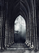 Dark gothic corridor with columns leading to a forest at night. 3D render.