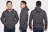 Blank sweatshirt mock up, front, back and side view, isolated. Asian male model wear plain gray hoodie mockup. Hoody design presentation. Jumper for print. Blank clothes sweat shirt sweater