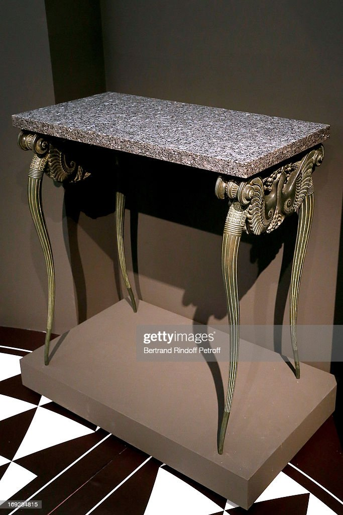 Dark green patinated and marble dressing table, 1923 from Bathroom created by the French Art Deco cabinet maker, Armand Albert Rateau (1882-1938), for the private apartments of the Duchess of Alba, dona Maria del Rosario de Silva y Gurtubay (1900-1934), in the Liria Palace, Madrid - Before the sale on 23rd May 2013, Christie's Press Preview Of The Collection Of The Duchess Of Alba Furniture on May 22, 2013 in Paris, France.