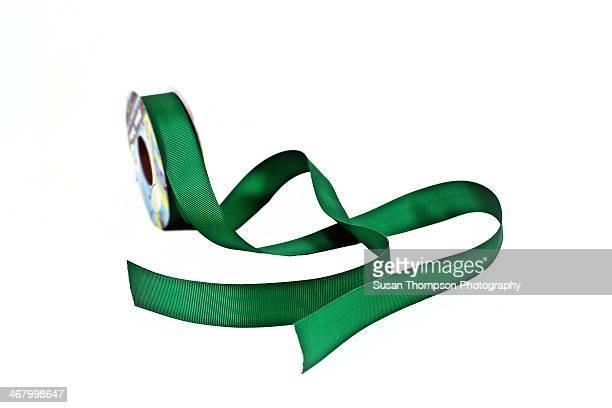 Dark Green Ribbon On White