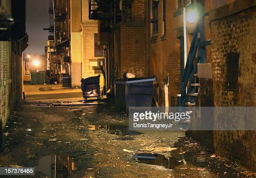 Dark gritty inner city urban Alley