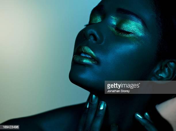 dark image of black female closed eyes