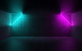 Abstract dark concrete interior background with colorful neon lights, 3d render illustration