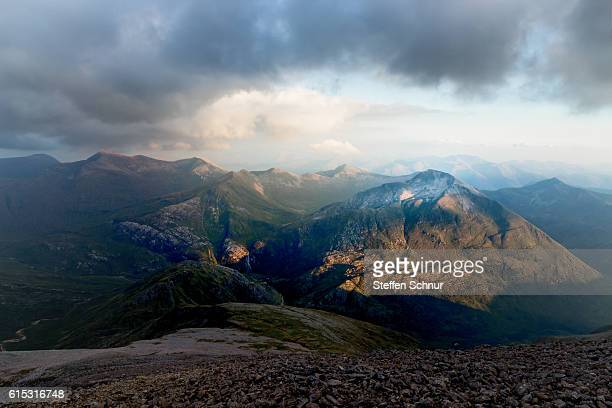 dark mountains Scottish Highlands from above
