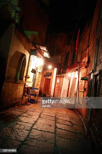 Dark Narrow Street in Varanasi, India