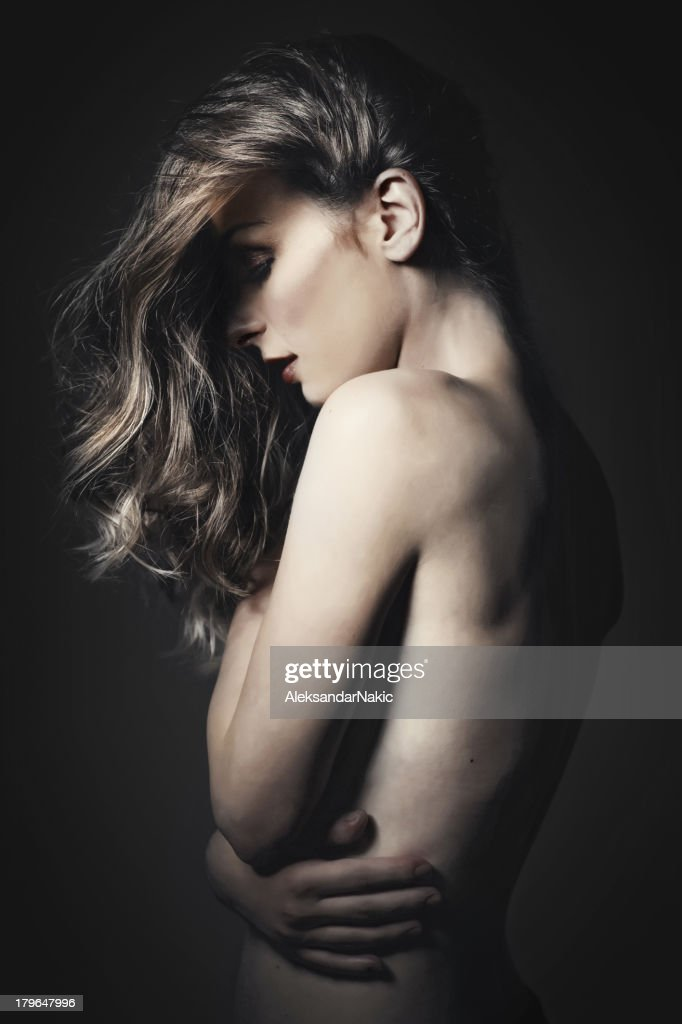 Dark portrait of a beauty : Stock Photo