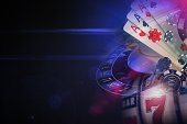 Dark Purple Casino Games 3D Rendered Illustration Concept. Vegas Online Casino Games Conceptual Graphic with Left Side Copy Space.