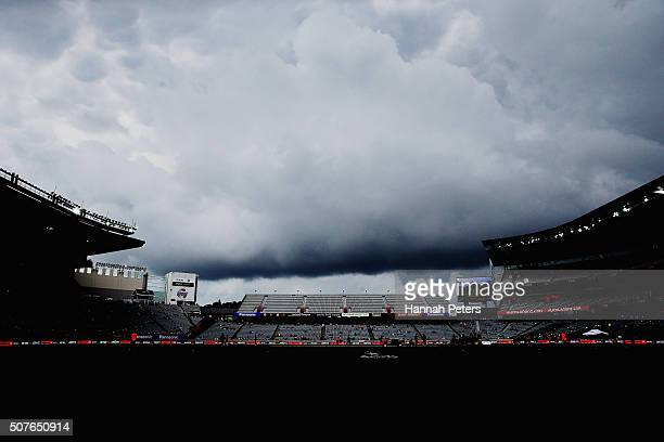 Dark rain clouds hang ovre Eden Park during the One Day International match between New Zealand and Pakistan at Eden Park on January 31 2016 in...