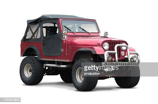Dark red soft top SUV on white background
