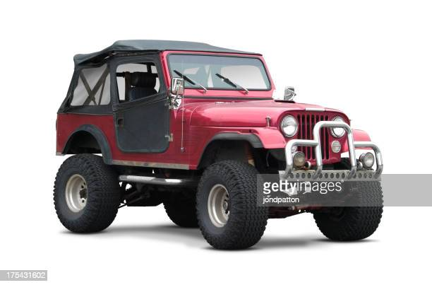 Dark red soft top SUV on white background