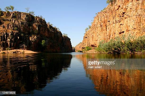 Dark river winding through the Katherine Gorge