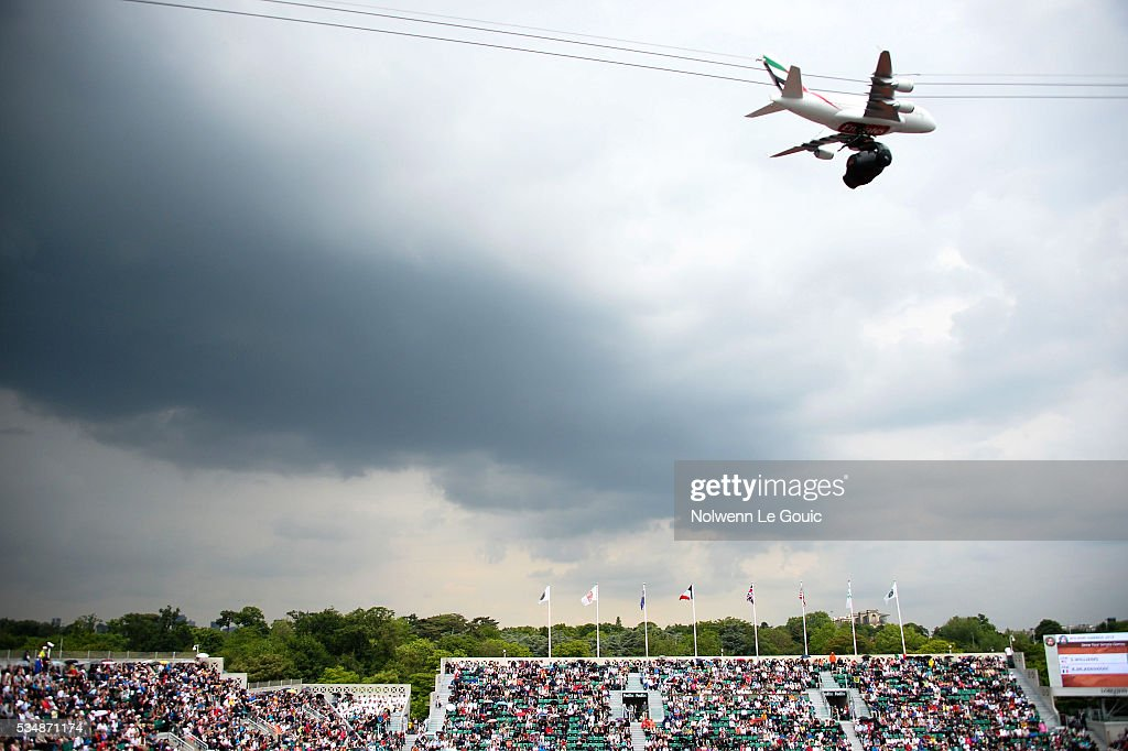 Dark skies over Roland Garros during the Women's Singles third round on day seven of the French Open 2016 on May 28, 2016 in Paris, France.