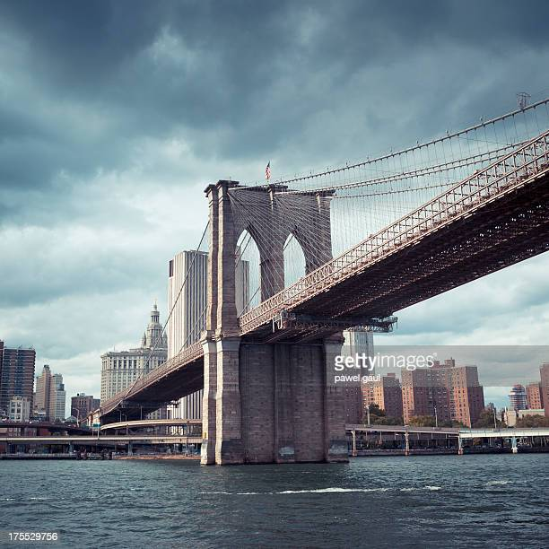 Dark sky over Brooklyn bridge