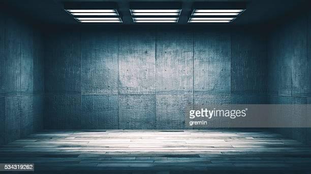 Dark, spooky, empty office or basement room