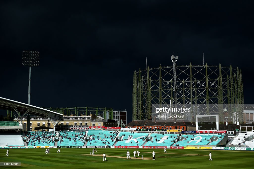 A dark storm cloud passes by during day two of the Specsavers County Championship Division One match between Surrey and Yorkshire at The Kia Oval on September 13, 2017 in London, England.
