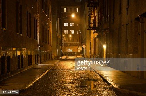 Dark wet street