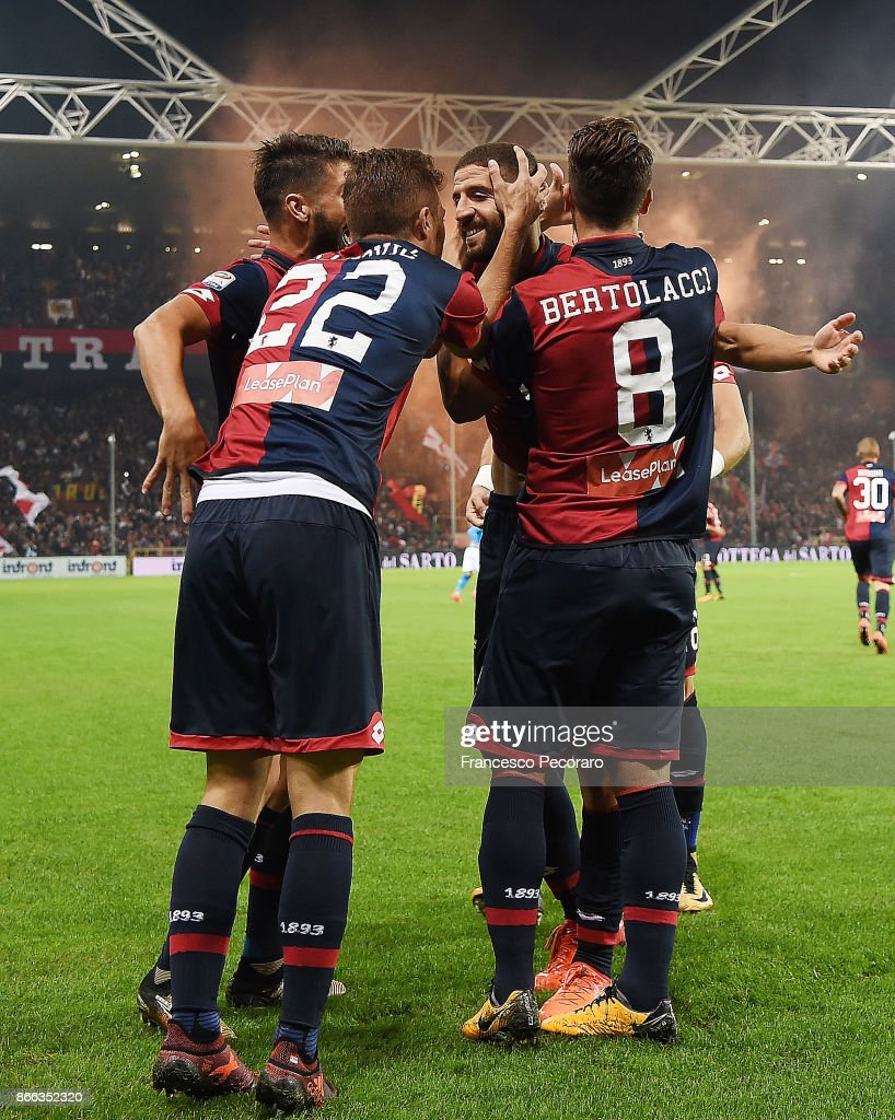 Darko Lazovic and Adel Taarabt of Genoa CFC celebrate the 1-0 goal scored by Adel Taarabt during the Serie A match between Genoa CFC and SSC Napoli at Stadio Luigi Ferraris on October 25, 2017 in Genoa, Italy.