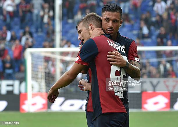 Darko Lazovic and Armando Izzo of Genoa react during the Serie A match between Genoa CFC and Empoli FC at Stadio Luigi Ferraris on October 16 2016 in...