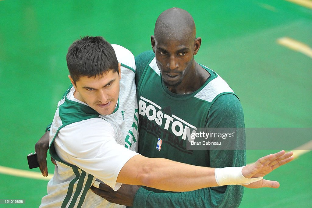 Darko Milicic and Kevin Garnett of the Boston Celtics practice on October 12, 2012 at the Training Center at Healthpoint in Waltham, Massachusetts.