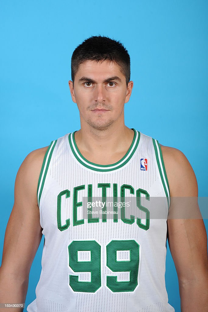 Darko Milicic #99 of the Boston Celtics poses for a portrait during Media Day on September 28, 2012 at the Boston Sports Club in Waltham, Massachusetts.