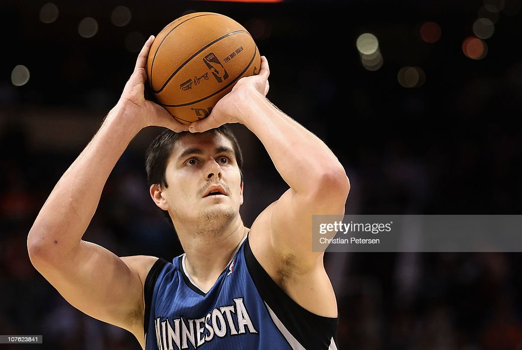 Darko Milicic #31 of the Minnesota Timberwolves shoots a free throw shot against the Phoenix Suns during the NBA game at US Airways Center on December 15, 2010 in Phoenix, Arizona. The Suns defeated the Timberwolves 128-122.