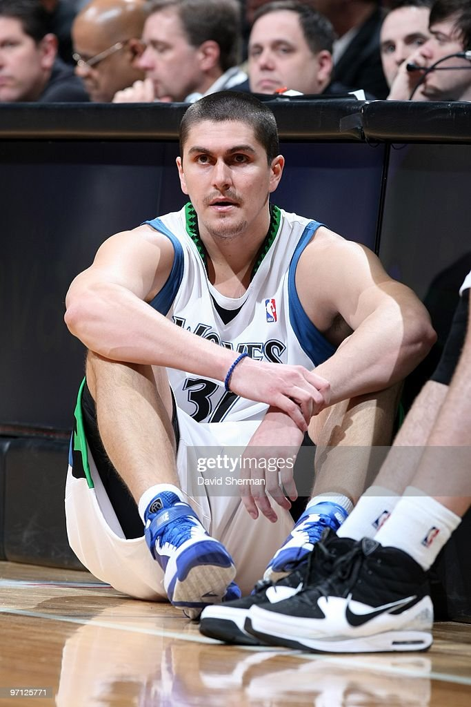 <a gi-track='captionPersonalityLinkClicked' href=/galleries/search?phrase=Darko+Milicic&family=editorial&specificpeople=204586 ng-click='$event.stopPropagation()'>Darko Milicic</a> #31 of the Minnesota Timberwolves waits to enter the game in front of the scorer's table during the game against the Oklahoma City Thunder at Target Center on February 21, 2010 in Minneapolis, Minnesota. The Thunder won 109-107.