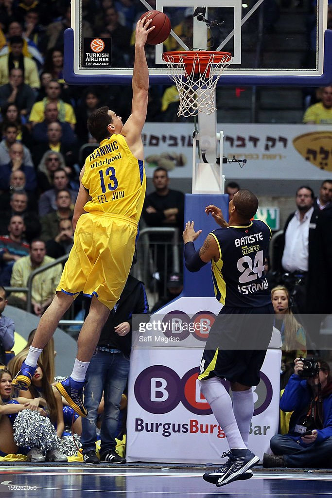 Darko Planinic, #13 of Maccabi Electra Tel Aviv competes with <a gi-track='captionPersonalityLinkClicked' href=/galleries/search?phrase=Mike+Batiste&family=editorial&specificpeople=784344 ng-click='$event.stopPropagation()'>Mike Batiste</a>, #24 of Fenerbahce Ulker Istanbul during the 2012-2013 Turkish Airlines Euroleague Top 16 Date 3 between Maccabi Electra Tel Aviv v Fenerbahce Ulker Istanbul at Nokia Arena on January 10, 2013 in Tel Aviv, Israel.
