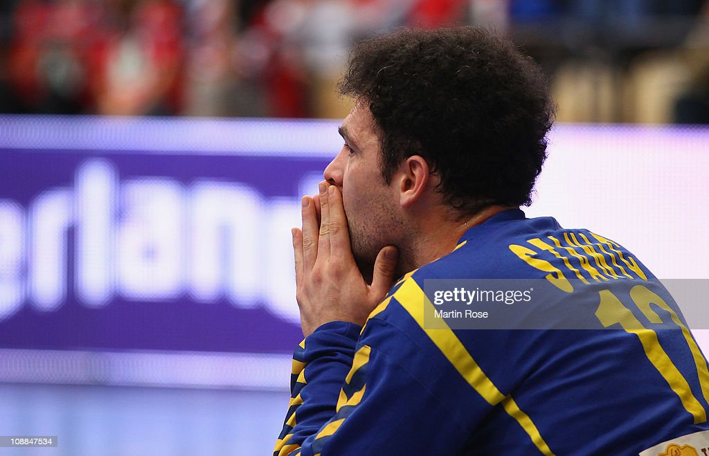 Darko Stanic, goalkeeper of Serbia reacts during the Men's Handball World Championship placement match between Norway and Serbia at Kristianstad Arena on January 27, 2011 in Kristianstad, Sweden.