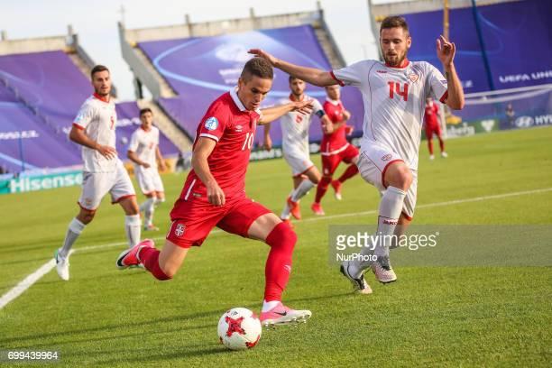 Darko Velkoski Mijat Gacinovic during the UEFA European Under21 Championship Group C match between Czech Republic and Italy at Tychy Stadium on June...