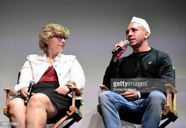 Darlene Anderson and filmmaker Antonio Santini speak onstage at 2017 Sundance NEXT FEST at The Theater at The Ace Hotel on August 13 2017 in Los...