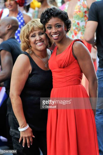 Darlene Love and Montego Glover attend the Broadway Unites 9/11 Day of Service and Remembrance ceremony at Times Square on September 9 2011 in New...