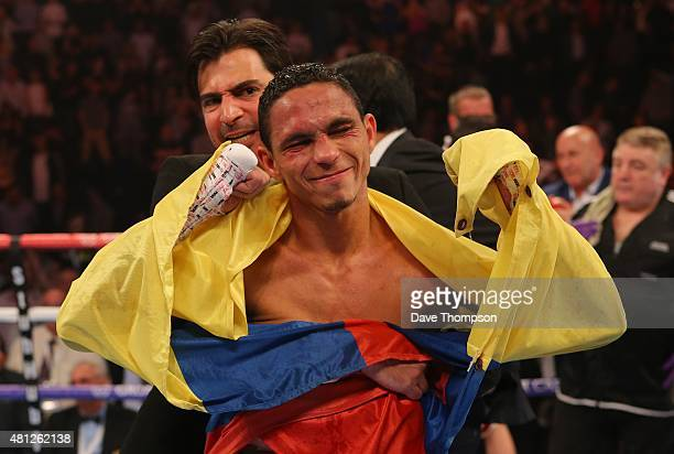 Darleys Perez celebrates at the end of his fight against Anthony Crolla during their WBA World Lightweight Championship contest at the Manchester...