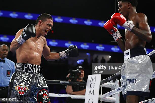 Darleys Perez of Colombia taunts opponent Maurice Hooker during their junior welterweights bout at TMobile Arena on November 19 2016 in Las Vegas...