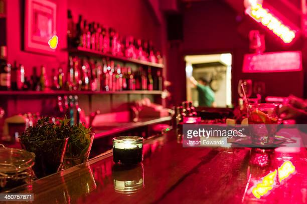 A neon-filled modern and funky bar in inner city Sydney.