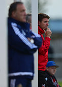 Darlington Manager Martin Gray watches on during a pre season friendly between Darlington and Sunderland at Heritage Park on July 9 2015 in Bishop...