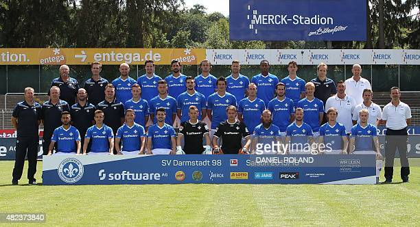 Darmstadt's team members pose during the team presentation of German first division Bundesliga football club SV Darmstadt 98 on July 30 2015 in...