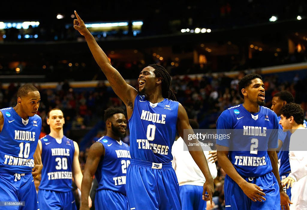 Darnell Harris of the Middle Tennessee Blue Raiders celebrates late in the game against the Michigan State Spartans during the first round of the...