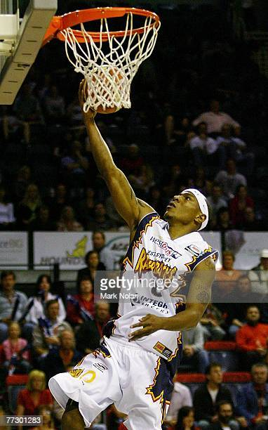 Darnell Hinson of the Razorbacks drives to the basket during the round four NBL match between the Wollongong Hawks and the West Sydney Razorbacks at...