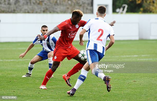 Darnell Johnson of Leicester City in action with Diogo Dalot of FC Porto during the UEFA Youth Champions Leagues match between FC Porto and Leicester...