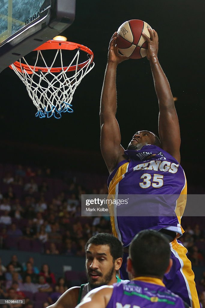 Darnell Lazare of the Kings dunks during the round 21 NBL match between the Sydney Kings and the Townsville Crocodiles at Sydney Entertainment Centre on March 3, 2013 in Sydney, Australia.