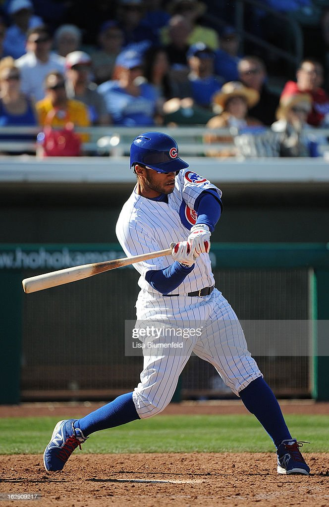 <a gi-track='captionPersonalityLinkClicked' href=/galleries/search?phrase=Darnell+McDonald&family=editorial&specificpeople=179391 ng-click='$event.stopPropagation()'>Darnell McDonald</a> #16 of the Chicago Cubs bats against the Los Angeles Dodgers on February 27, 2013 at HoHoKam Park in Mesa, Arizona.