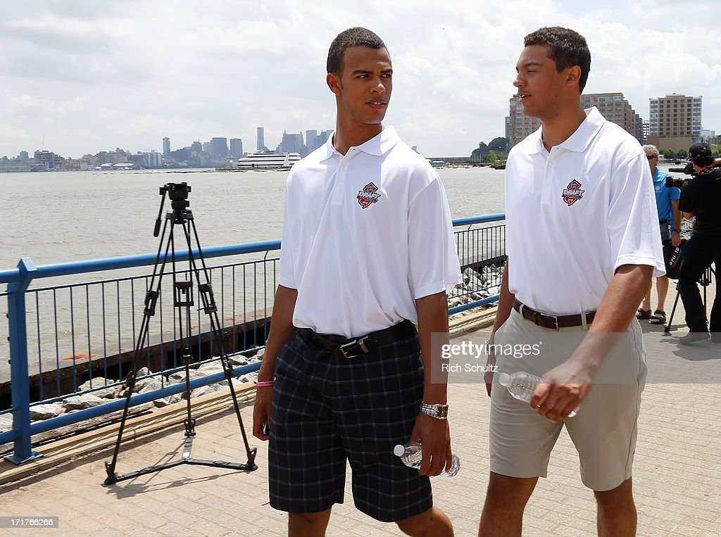<a gi-track='captionPersonalityLinkClicked' href=/galleries/search?phrase=Darnell+Nurse&family=editorial&specificpeople=9156575 ng-click='$event.stopPropagation()'>Darnell Nurse</a> and Seth Jones walk together after a media availability on June 28, 2013 in Weehawken, New Jersey. The NHL will be holding it's player draft Sunday at the Prudential Center in Newark.