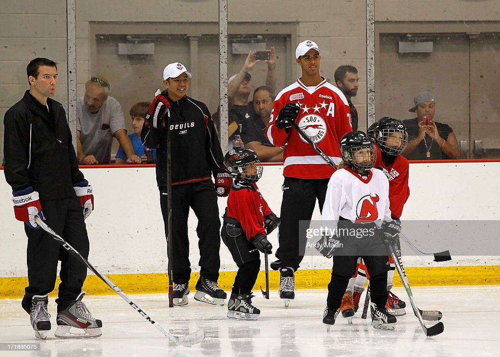 <a gi-track='captionPersonalityLinkClicked' href=/galleries/search?phrase=Darnell+Nurse&family=editorial&specificpeople=9156575 ng-click='$event.stopPropagation()'>Darnell Nurse</a> (right) attends the 2013 NHL Draft - Top Prospects Clinic at Prudential Center on June 29, 2013 in Newark, New Jersey.