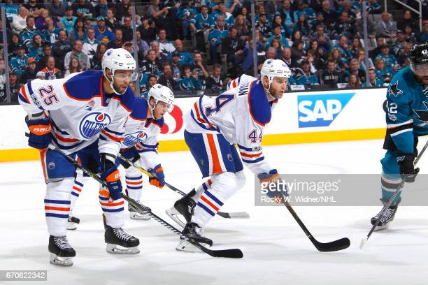 Darnell Nurse Drake Caggiula and Zack Kassian of the Edmonton Oilers skate against the San Jose Sharks in Game Four of the Western Conference First...