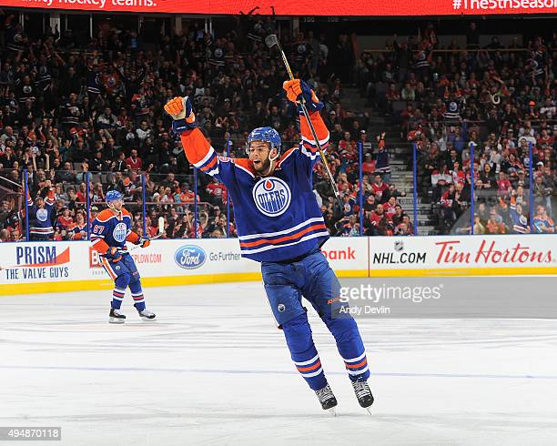 Darnell Nurse of the Edmonton Oilers celebrates after a goal during a game against the Montreal Canadiens on October 29 2015 at Rexall Place in...