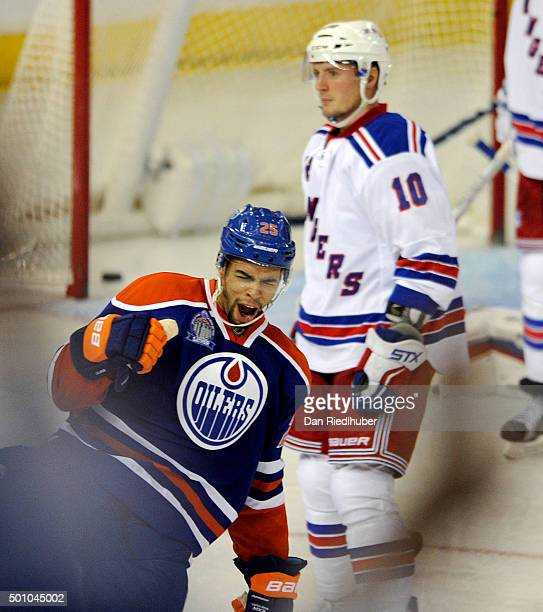 Darnell Nurse of the Edmonton Oilers celebrates his third period goal against the New York Rangers at Rexall Place on December 11 2015 in Edmonton...